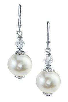 Sterling Silver 10mm White Freshwater Pearl & Swarovski Crystal Dangle Earrings by Non Specific on @HauteLook