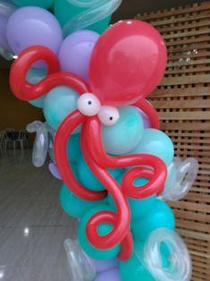 Detalhes arco de balões, polvo de balões Rede Festas Decorações Guarulhos SP 981337034