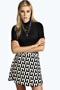 Liv Monochrome Geometric Print A Line Mini Skirt