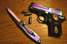 Sig Sauer and Knife in Rainbow Titanium My Xmas gifts! Oh Santa you really… Weapons Guns, Guns And Ammo, M4 Airsoft, Sig Sauer P238, Pretty Knives, Guns And Roses, Cool Guns, Concealed Carry, Self Defense