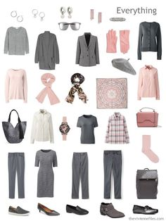 blush and grey travel capsule wardrobe with accessories Capsule Wardrobe Work, Travel Wardrobe, Office Wardrobe, Pink Outfits, Trendy Outfits, Winter Typ, Fashion Capsule, Capsule Outfits, Travel Outfits