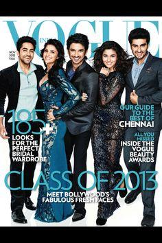 Vogue India  Class of 2013 issue cover Arjun kapoor alia bhatt ayushmaan khurana sushant singh rajput parineeti  chopra