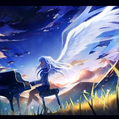 """As the millions of stars began to disappear, I sent them on their way, Waving my hand, Whispering 'Congratulations'."" Angel Beats! OP: My Soul, Your Beats - Aoi Tada 