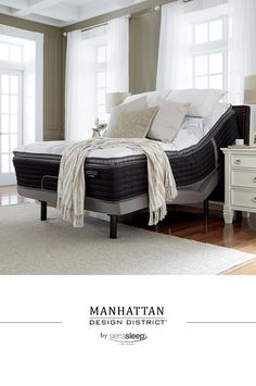 Get the best of both worlds with the Manhattan Design District's firm pillow top mattress. The cozy pillow top layer adds the perfect balance to the three different layers of high-density foams for the ultimate in structured support. Includes 968 Quantum Edge steel coils for reinforced structural support. Sierra Sleep by  Ashley - #SierraSleep - #Mattress