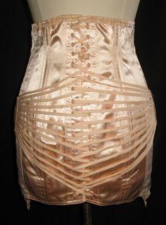 VINTAGE 1960s Corset Fan Lacing Peach Satin by sewingmachinegirl