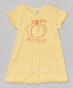 Look what I found on #zulily! Yellow Pumpkin Personalized Dress - Infant, Toddler & Girls #zulilyfinds