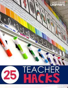 25 Teacher Hacks for a Successful Classroom – Lucky Little Learners – hacks for school Classroom Hacks, 5th Grade Classroom, 2nd Grade Teacher, Elementary Teacher, Elementary Education, Future Classroom, School Classroom, Classroom Decor, Classroom Libraries