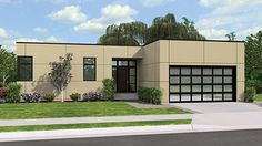 Home Plan HOMEPW77165 - 1624 Square Foot, 3 Bedroom 2 Bathroom Contemporary-Modern Homes Home with 2 Garage Bays | Homeplans.com