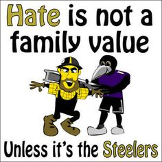 BALTIMORE RAVENS BUMPER STICKER HATE IS NOT A FAMILY VALUE