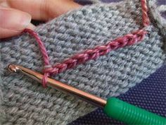 Add a crochet chain to your knitting to increase stability.  What a genius idea!!