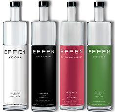 Effen Vodka: original, black cherry, cucumber and rasberry.