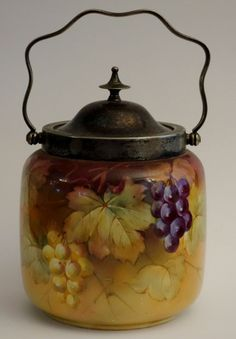 Antique Pretty Victorian Biscuit Jar Cracker Barrel Hand Painted Grapevines VGC