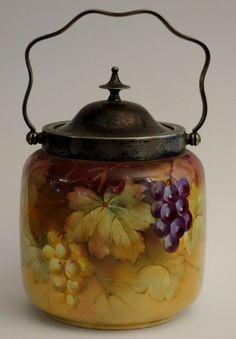 Antique Pretty Victorian Biscuit Jar Cracker Barrel Hand Painted Grapevines VGC