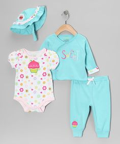 Take a look at this Turquoise Cupcake Wrap Top Set by Happi by Dena on #zulily today!@Aurea Salas