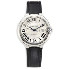 Cartier Ballon Bleu De Cartier Stainless Steel & Alligator Strap Watch (351.100 RUB) ❤ liked on Polyvore featuring jewelry, watches, accessories, black, polish jewelry, imitation jewelry, imitation jewellery, cabochon jewelry and artificial jewellery