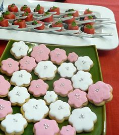 Cherry Blossom Party ~ Desserts ~ spoons & cherry blossom cookies