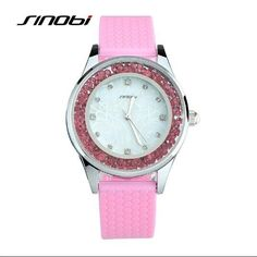 SINOBI Brand Women Silicone Ladies Wrist Watches Candy Color Quartz Watch for Woman Girls Party Diamond Watches