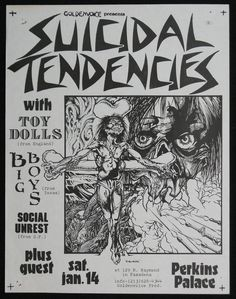 Suicidal Tendencies, Toy Dolls, Big Boys, Social Unrest at Perkins Palace. Music Flyer, Concert Flyer, Tour Posters, Band Posters, Music Posters, Iron Maiden, Ramones, Pink Floyd, The Beatles