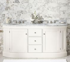 Brinkley Demilune Double Sink Console - White   Pottery Barn. I want something to the ground like this that looks like furniture.