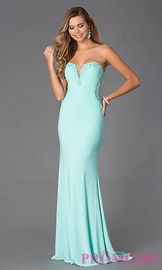 Strapless Floor Length Dress with Sheer and Lace Detail at PromGirl.com