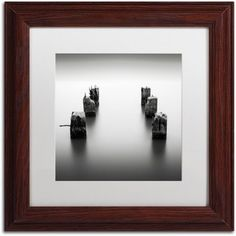 Trademark Fine Art Pillars Canvas Art by Dave MacVicar, White Matte, Wood Frame, Size: 11 x 11, Brown