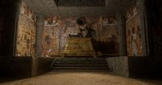 An Egyptian tomb showcasing the Egyptian God Anubis. Anubis, My Character, Ancient Civilizations, Ancient Egypt, Egyptian, Adventure, History, Architecture, Artwork