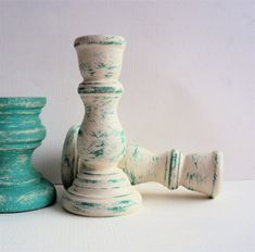 Little Shabby Chic Distressed Candlesticks - Tiny Teal Candle Holders - White and Turquoise Mini Candle Sticks - Rustic Cottage Decor on Etsy, $12.00