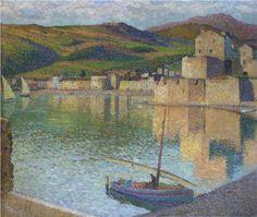 Blue Boat in Port Collioure - Henri Martin