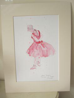 Ballerina in Pink, after Degas, watercolour painting, original watercolour…