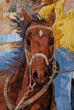 Rodeo horse, close up, original quilt by Sue Garman