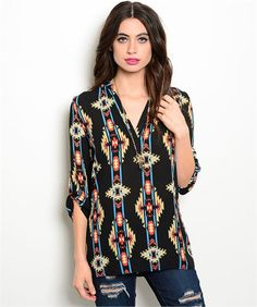Cowgirl AZTEC Southwest Western Colorful Boho Gypsy Top Shirt Tunic SMALL #cuky #Tunic