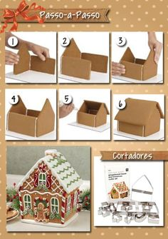 Christmas Cookie House Tutorial More Christmas Makes, Christmas Scenes . - Tutorial Christmas Cookie House More Christmas Makes, Christmas Scenes, Christmas Goodies, Christma - Christmas Scenes, Christmas Makes, Christmas Goodies, Christmas Fun, Christmas Candles, Scandinavian Christmas, Modern Christmas, Cardboard Gingerbread House, Christmas Gingerbread House