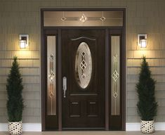 ProVia's Eclipse Decorative Glass offers double Gluechip privacy glass with clusters of beveled glass for a traditional and harmonious custom door design. Entry Doors With Glass, Double Entry Doors, Glass Front Door, Black Front Doors, Wooden Front Doors, Main Door Design, Front Door Design, Window Design, Fiberglass Entry Doors