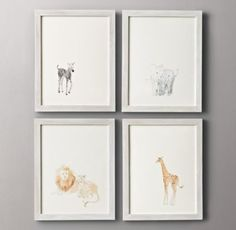 Watercolor Animal Illustrations @Christina Spatharos  is this something you think you could replicate? these prints are $99 each… this is the type of art I'm thinking for the nursery