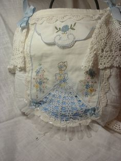 Blue Southern Belle with Doilies Handbag Purse by touchograce, $42.95