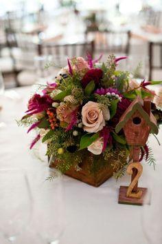 rustic purple wood box centerpiece / http://www.himisspuff.com/wooden-box-wedding-decor-centerpieces/13/
