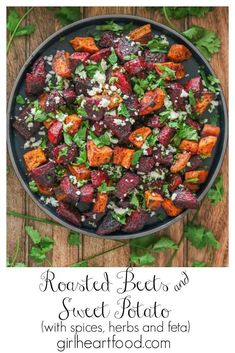Roasted beets and sweet potatoes make for such an easy side dish that's sure to be a favourite! Chunks of beetroot are combined with chunks of sweet potato, tossed in a bunch of spices and oven roasted until tender and delicious! The root veggies are then garnished with crumbled feta and cilantro. Easy and so yummy! #roastedbeetsandsweetpotatoes #roastedbeetsandsweetpotato #sweetpotatoandbeets #roastedvegetables #roastedrootvegetables #sidedish #roastedveggies #beetswithfeta Roasted Root Vegetables, Root Veggies, Roasted Beets, Side Dishes Easy, Side Dish Recipes, Vegetable Prep, Vegetable Dishes, Beetroot, Kitchen Recipes