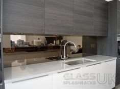 Even the most ardent opponent would have to agree that a mirrored splashback above your kitchen worktop or adorning your bathroom wall is all utterly beautiful. Wren Kitchen, Glass Kitchen, Kitchen Decor, Kitchen Ideas, Copper Kitchen, Mirror Backsplash Kitchen, Coloured Glass Splashbacks, Glass Splashbacks For Kitchens, Kitchen Worktop
