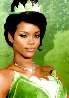 Rihanna [as Tiana] (Celebs As Disney by Grodansnagel @deviantART) #ThePrincessAndTheFrog