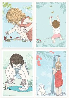 """Postcards Series - Childhood Moments - 4 Postcards Series 3.9"""" X 5.9""""  -  Can Be Framed as Wall Decor"""