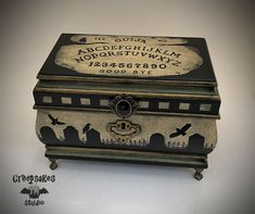 Feel free to stay a while and browse my original creepy creations! Painted Wooden Boxes, Hand Painted, Gothic Furniture, Furniture Design, Jewelry Box Makeover, Gothic Jewelry, Women's Jewelry, Goth Home Decor, Maila