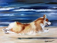 Prints, Cards, Pillows, Phone covers, duvets and gifts for the pembroke welsh corgi lover! Dog art by Mary Sparrow of Hanging the Moon