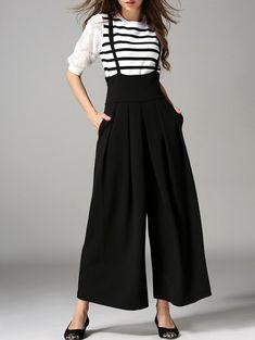 Cross Back Wide Leg Suspender Pants - BLACK L