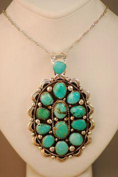 Darling Darlene Turquoise Cluser Pendant | Turquoise Cluster Pendant | Turquoise Native American Jewelry