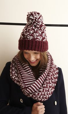 Striped and knitted infinity scarf with a soft chunky feel.