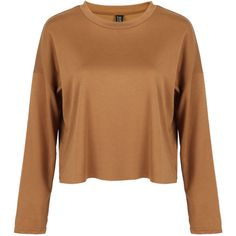 Camel Dropped Shoulder Raw Edge Crop T-shirt (€19) ❤ liked on Polyvore featuring tops, t-shirts, drop shoulder tops, beige top, crop tee, polyester t shirts and polyester crop tops