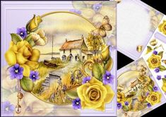 8x8 yellow roses at waterside cottage mini kit on Craftsuprint designed by Carol Smith - a mini kit with a floral theme, has a scene of a waterside cottage framed and decorated with beautiful yellow roses and violets, has co-ordinating butterflies dancing around and a matching blank tag for the greeting of your choice, sheet one has the main topper and some decoupage elements, sheet two has a matching insert plate and remainder of decoupage pieces.thank you for looking please take a peek at…