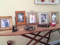 FAMILY pictures on ironing board