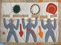 Bible Quilt, Applique detail, 1885 - 1886. Made by  Harriet Powers. Smithsonian Institution.