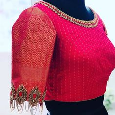 Details in sleeves g Pattu Saree Blouse Designs, Designer Blouse Patterns, Fancy Blouse Designs, Bridal Blouse Designs, Blouse Neck Designs, Sleeve Designs, Lehenga Blouse, Designer Saree Blouses, Indian Style